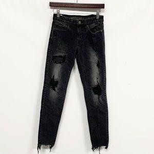 American Eagle | Black Distressed Skinny Jeans